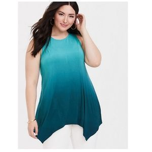 Super Soft Teal Ombre Handkerchief Tunic Tank